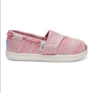 {toms} metallic bimini shoe toddler girl 11 pink